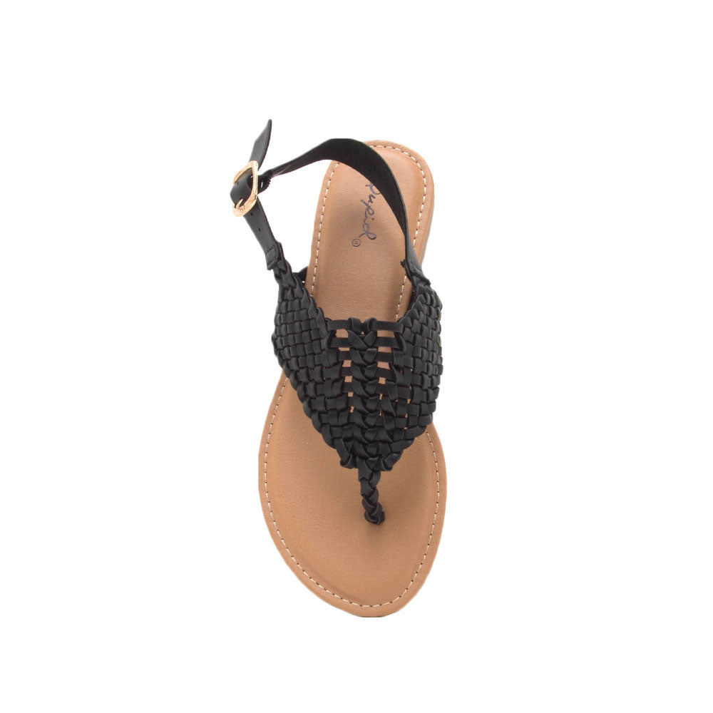 Archer-491 Black Braided Gladiator Sandal
