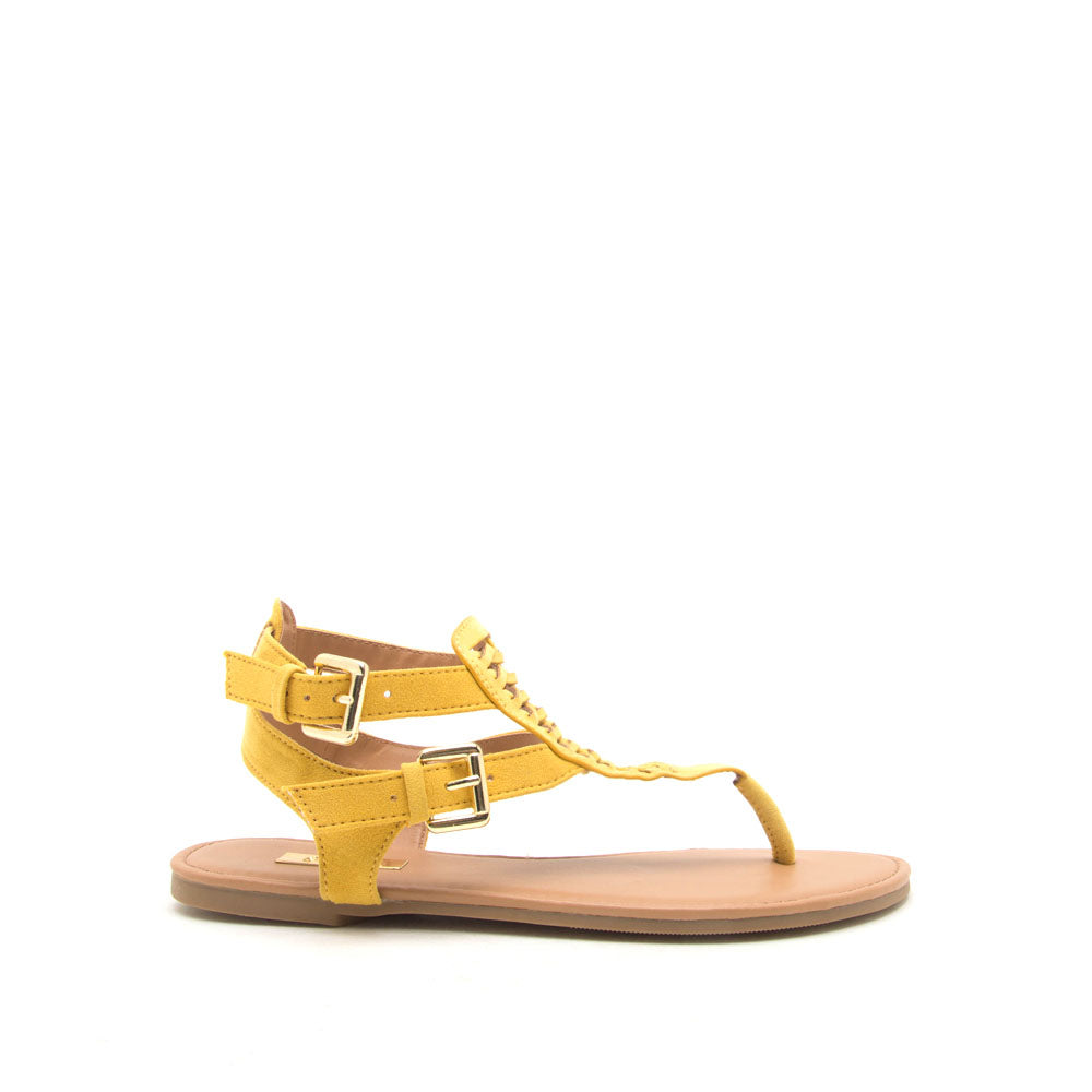 8f66846aea18 Qupid Women Shoes Archer-541 Yellow Gladiator Sandals