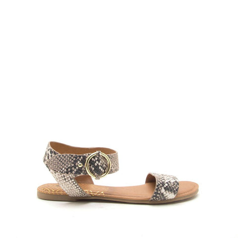 Archer-559X Beige Brown Snake Ankle Strap Sandals