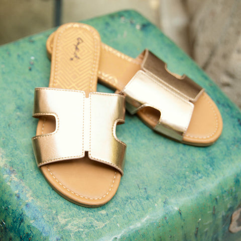 Archer-569X Rose Gold Metallic Slide In Sandals