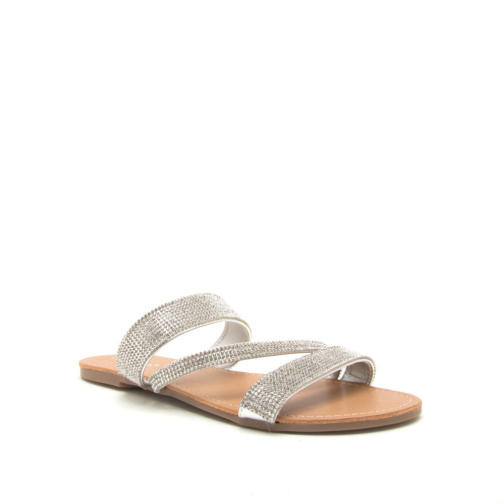 e00757844b4 Qupid Women Shoes Archer-571 Silver Metallic Embellished Sandals