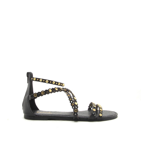 Archer-579 Black Strappy Embellished Sandals
