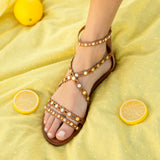 Archer-579 Camel Strappy Embellished Sandals