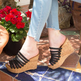 Ardor-118X Black Strappy Sandal Wedge