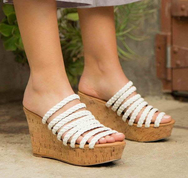 Ardor-118X White Strappy Sandal Wedge