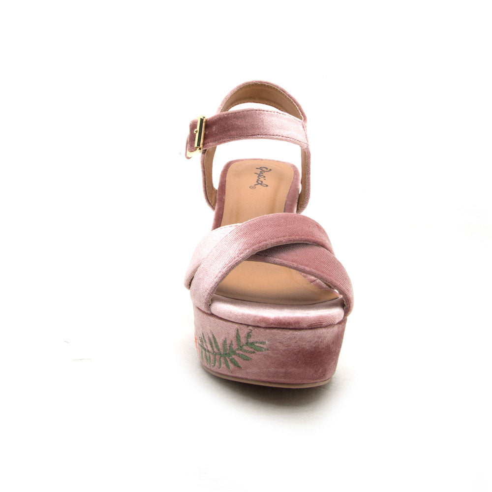 3d95b62748 Qupid Women Shoes Ardor-140 Blush Velvet Embroidered Wedge Sandal