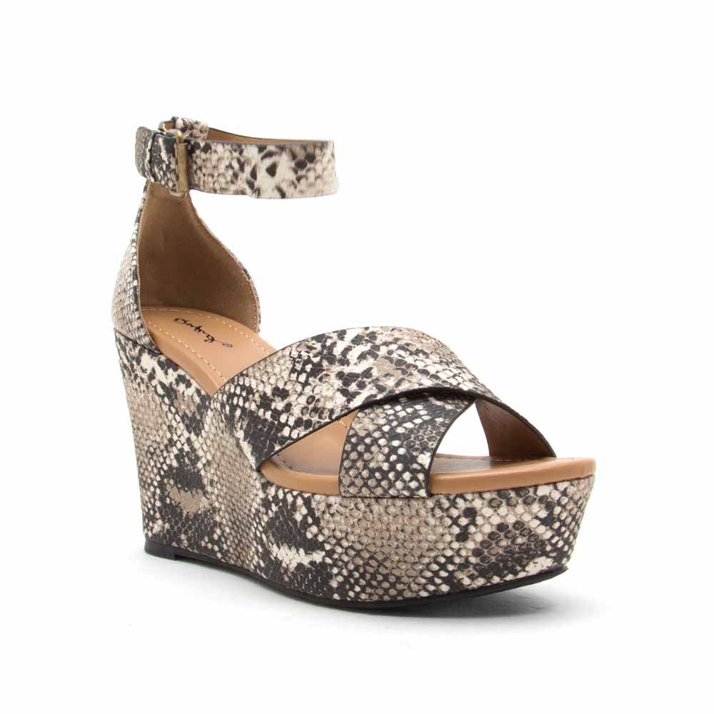 Ardor-182X Beige Brown Snake X Band Wedge Sandals