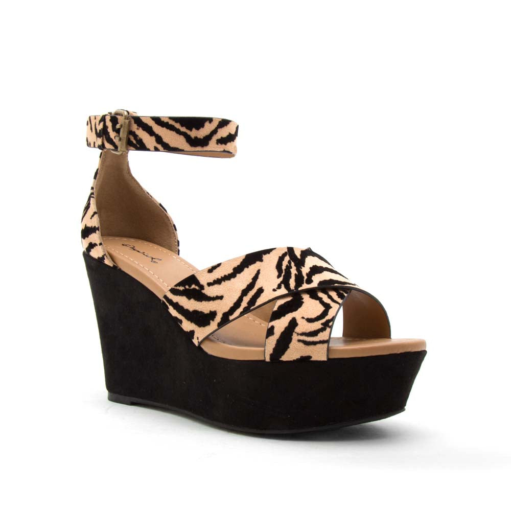 Ardor-182X Tan Black Tiger X Band Wedge Sandals