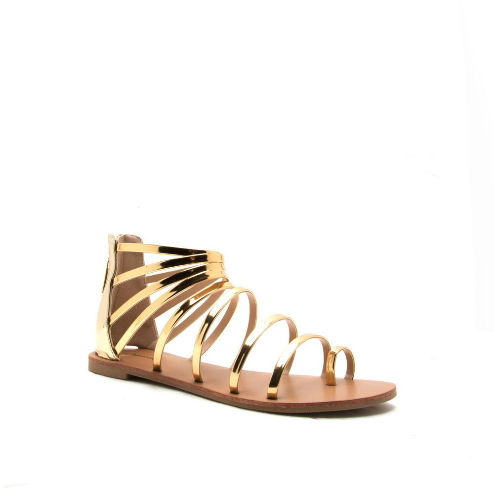 ATHENA-1017 Gold Metallic Strappy Gladiator Sandal