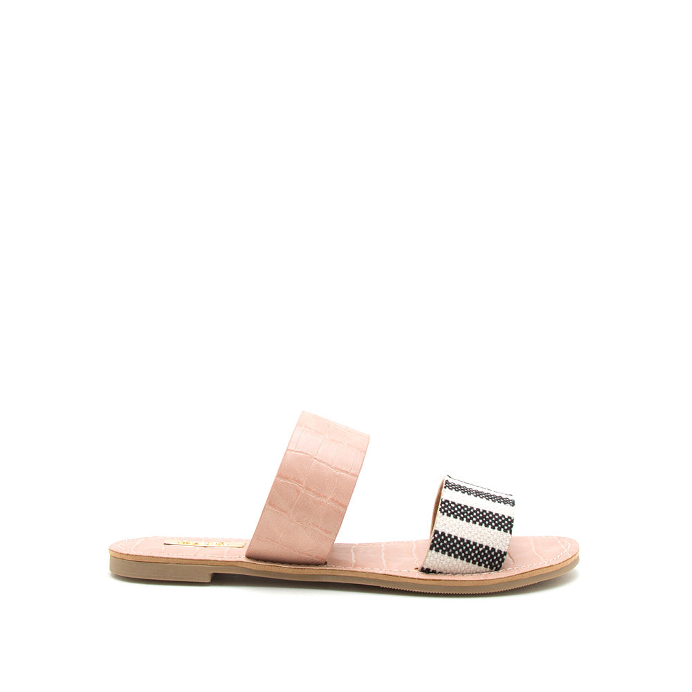 Athena-1076AXX Black Beige Two Bands Slide