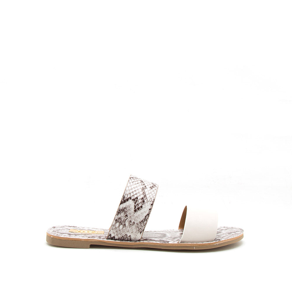 Athena-1076AXX Off White Two Bands Slide