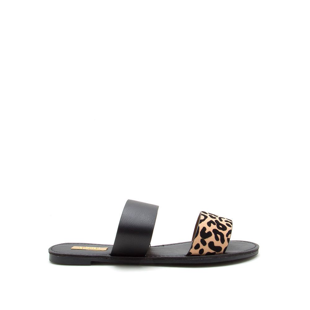 Athena-1076AXX Tan Black Leopard Two Bands Slide