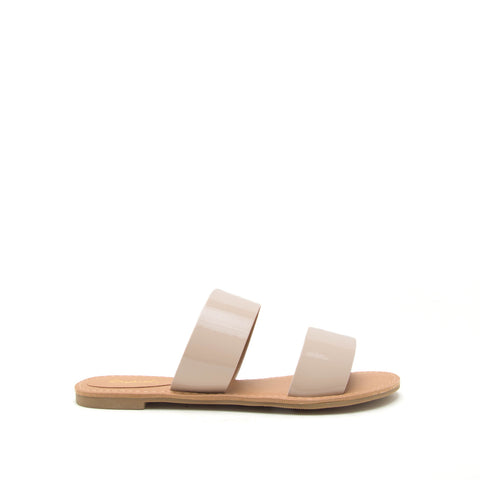 Athena-1076AXXX Nude Patent 2 Band Sandal