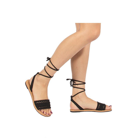 ATHENA-1172 Black Braided Lace Up Sandal