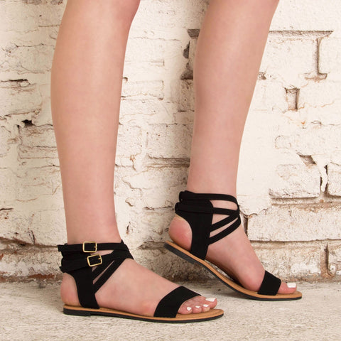 Athena-1292 Black One Band Strappy Sandal