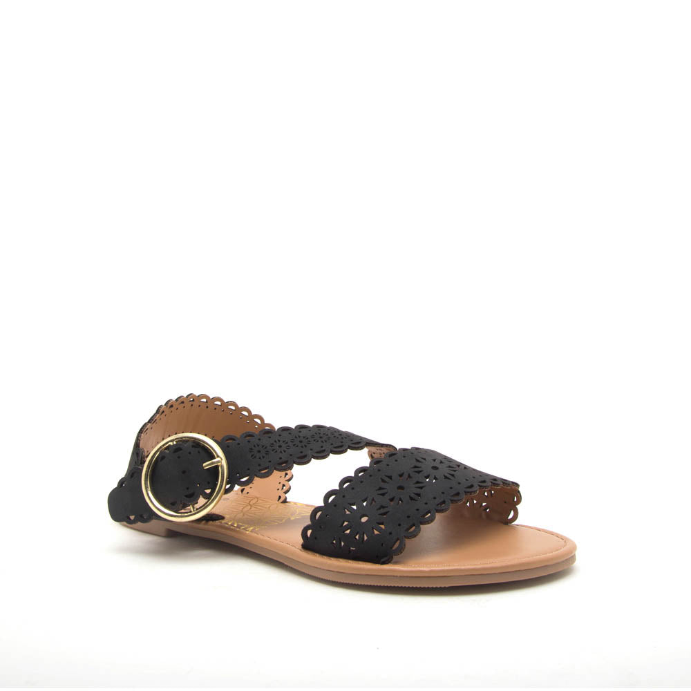 Athena-1354X Black Scalloped Sandals