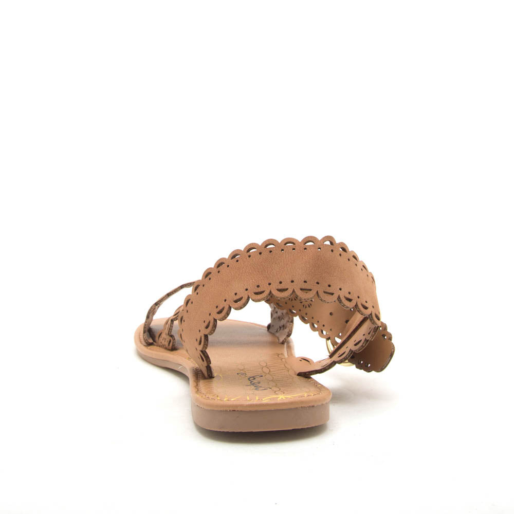 Athena-1354X Camel Scalloped Sandals