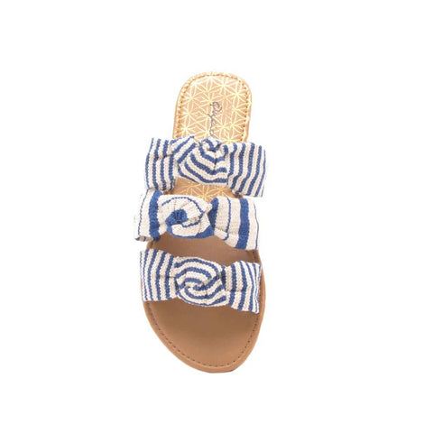 Athena-1363 Blue Beige Triple Knotted Slide Sandals