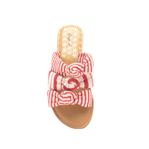 Athena-1363 Red Beige Triple Knotted Slide Sandals
