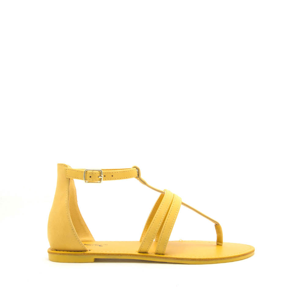 39595ee8479 Qupid Women Shoes Athena-1374X Yellow Strappy Gladiator Sandals