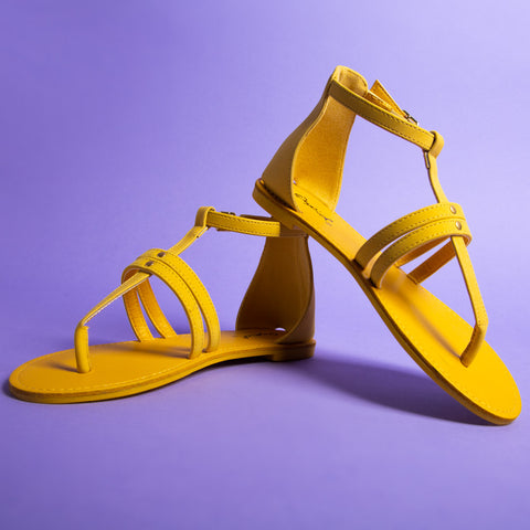 Athena-1374X Yellow Strappy Gladiator Sandals