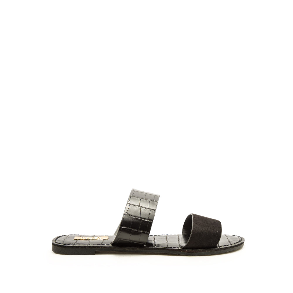 Athena-1407AX Black Double Band Sandals