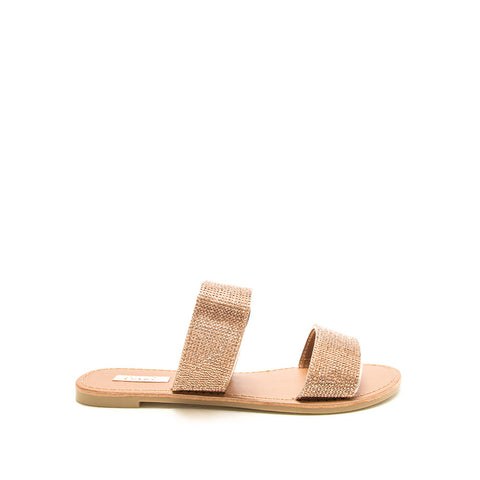Athena-1407XX Rose Gold Metallic Double Band Slides