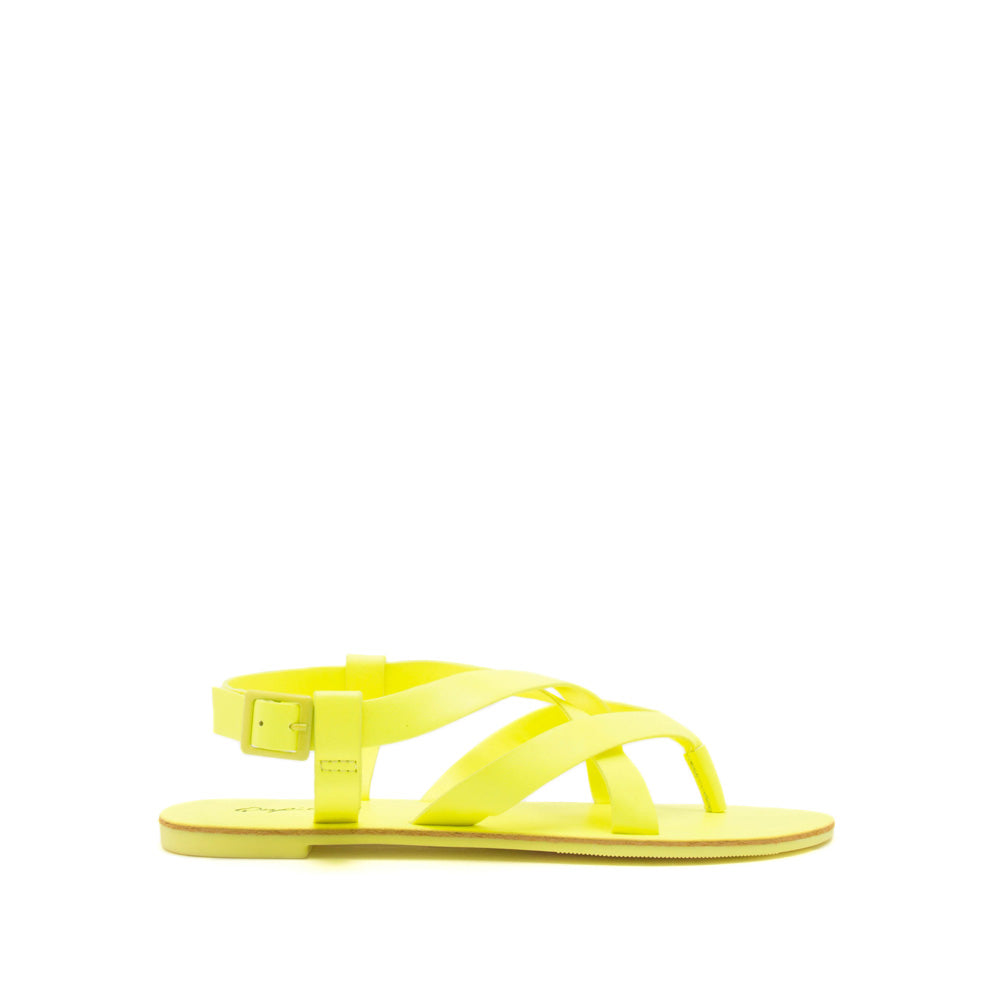 Athena-1457 Neon Yellow Strappy Gladiator Sandals