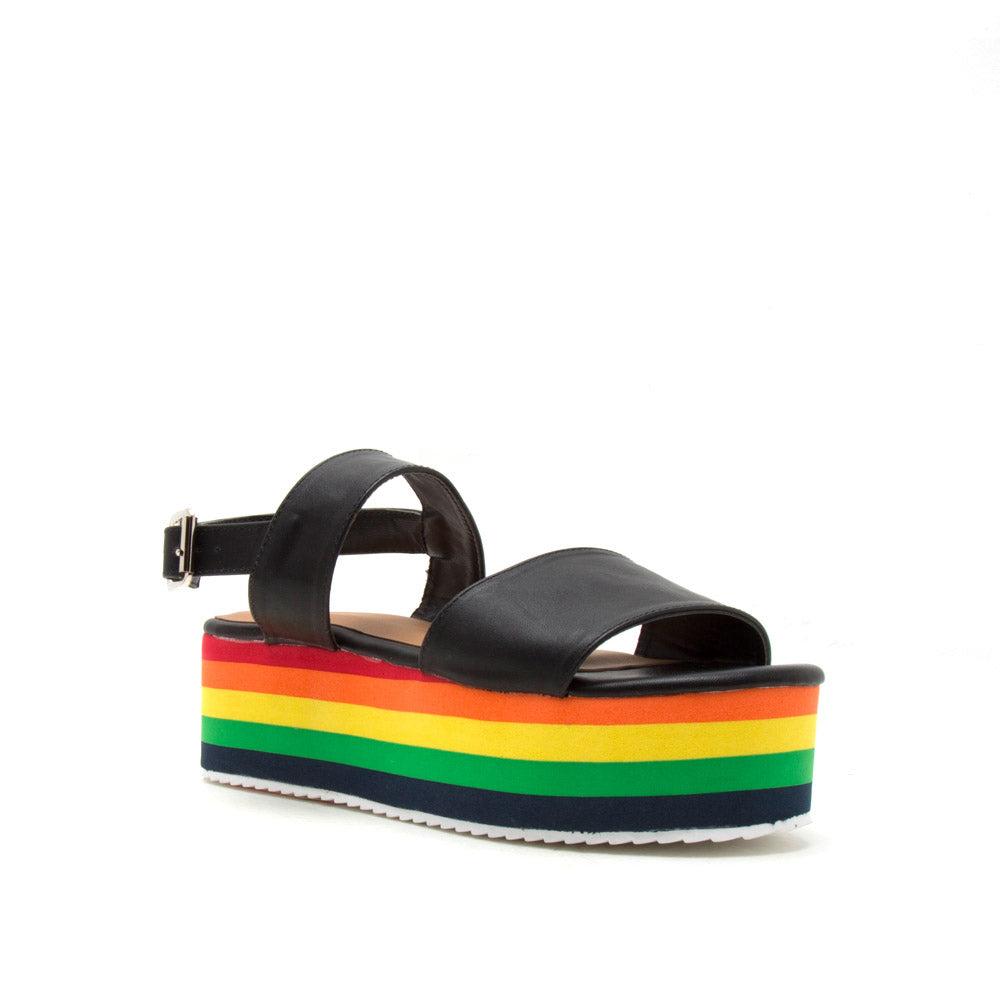 Aurora-01 Black Wedge Platform Sandal