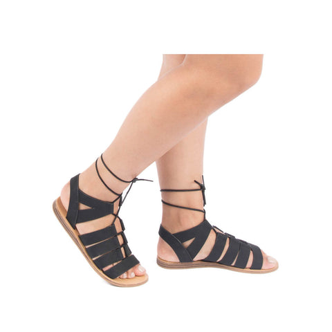 Autumn-01 Black Lace Up Gladiator Sandals