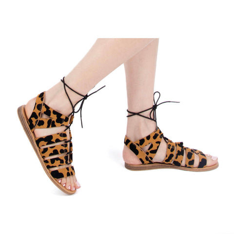 642a897cd2a9 Autumn-01 Camel Black Leopard Lace Up Gladiator Sandals