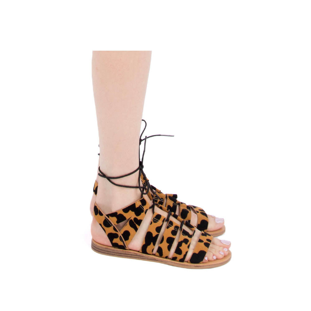 Autumn-01 Camel Black Leopard Lace Up Gladiator Sandals