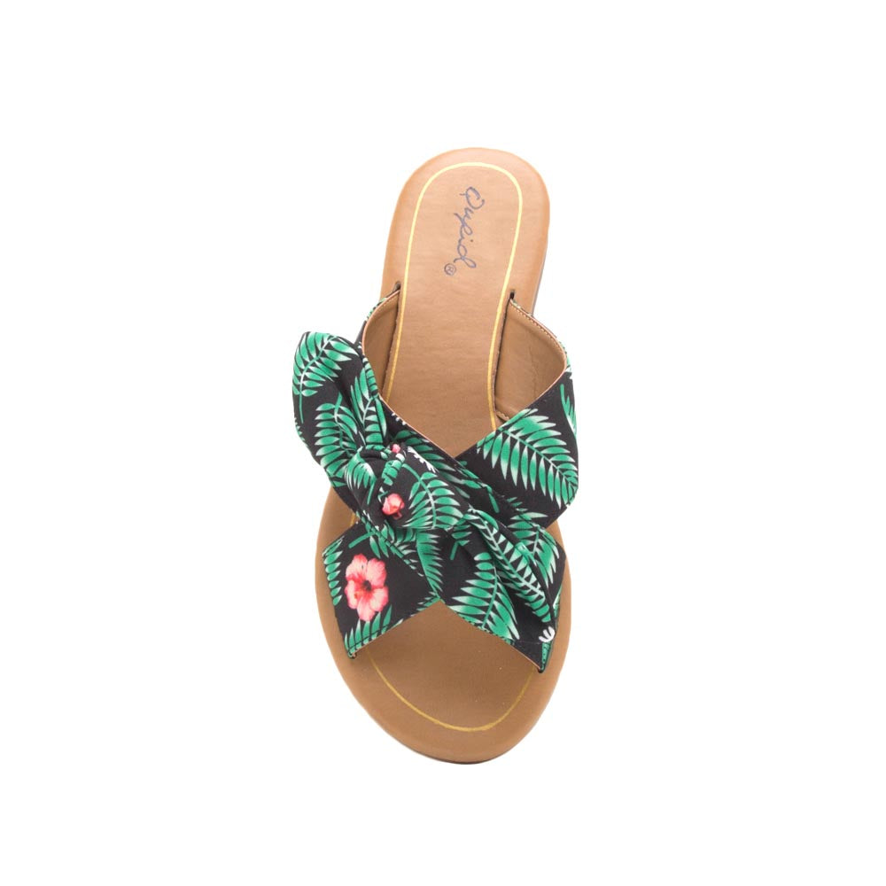 Autumn-06X Black Green Bow X Band Sandals