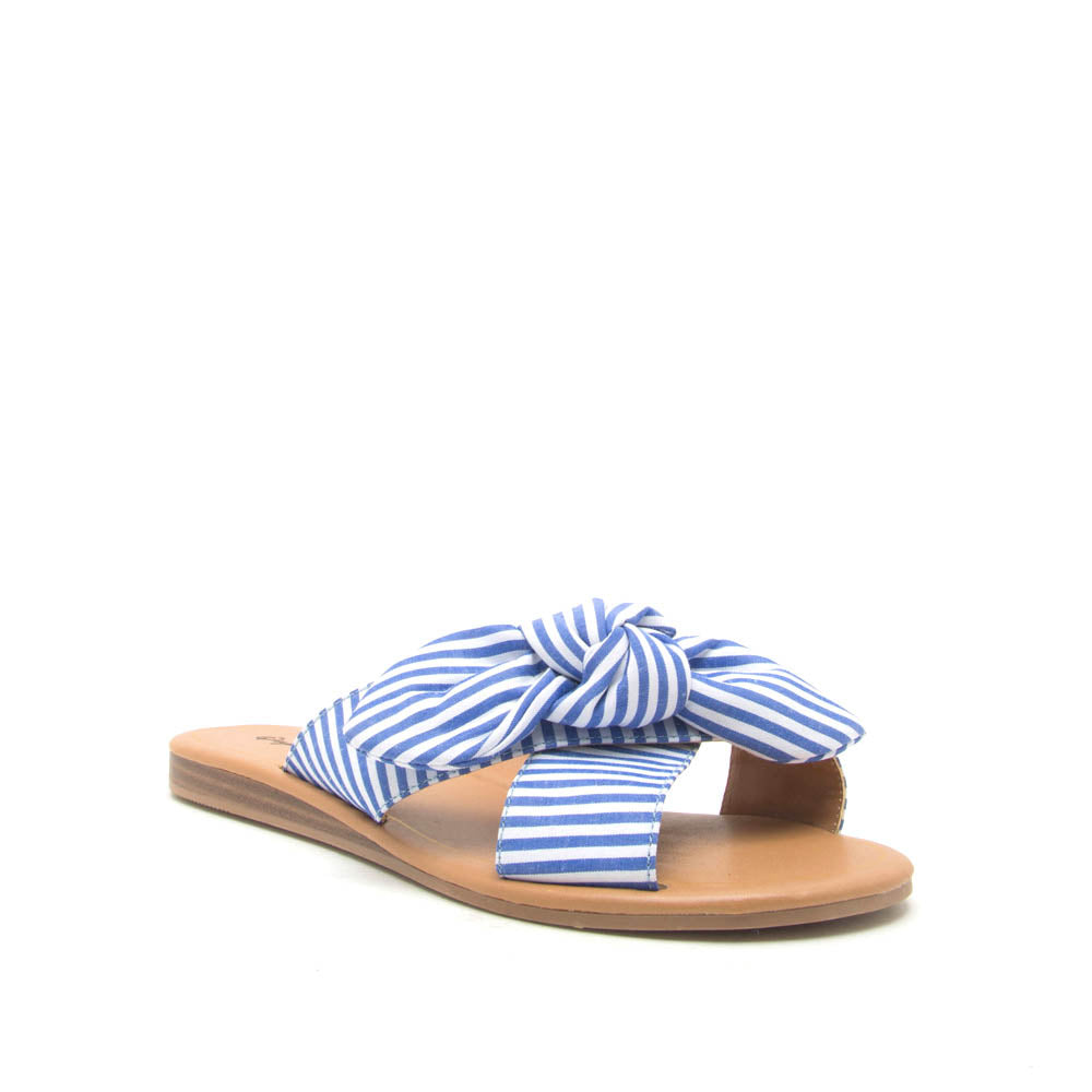 Autumn-06X Blue White Bow X Band Sandals