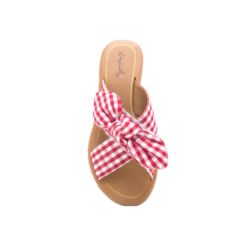 Autumn-06X Red White Bow X Band Sandals