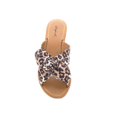 Autumn-06X Taupe Leopard Bow X Band Sandals