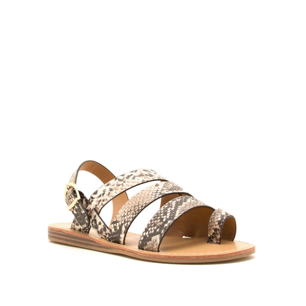 Autumn-07 Beige Brown Snake Strappy Toe Ring Sandals