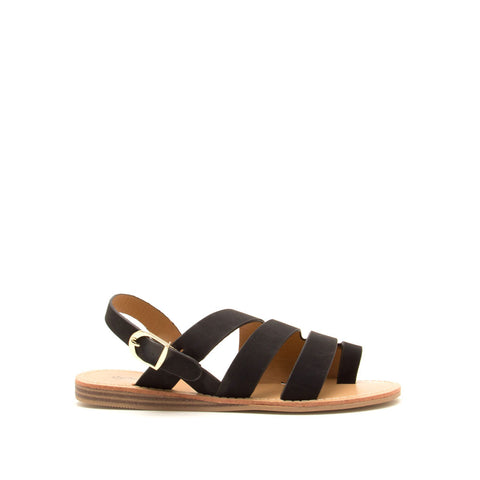 Autumn-07 Black Strappy Toe Ring Sandals