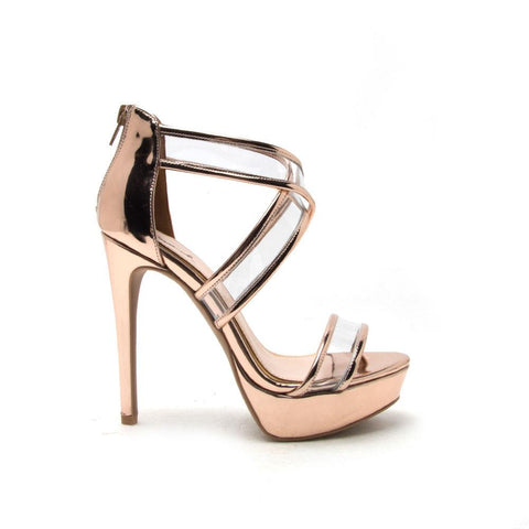 AVALON-159 Rose Gold Shiny Metallic Cross Strap Platform Heel