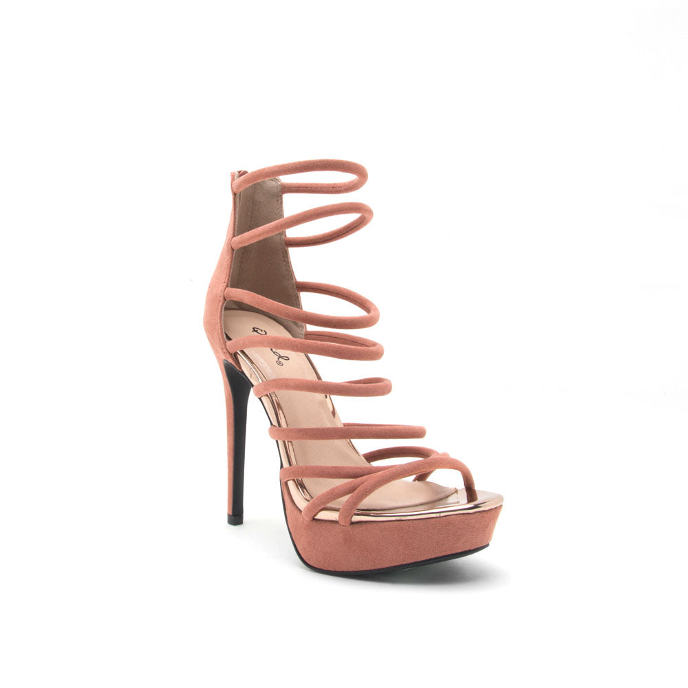 Avalon-227 Dusty Blush Strappy Caged Sandal