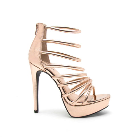 Avalon-227 Rose Gold Strappy Caged Sandal