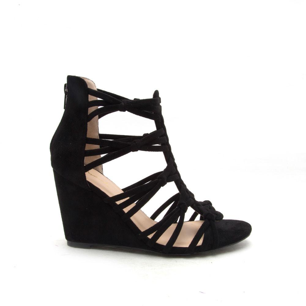 BALLARD-01 Black Knotted Strappy Sandals
