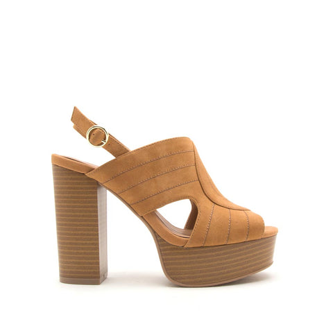 Banbi-10 Camel Cut Out Mule Sandals