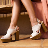 Banbi-10 Stone Cut Out Mule Sandals