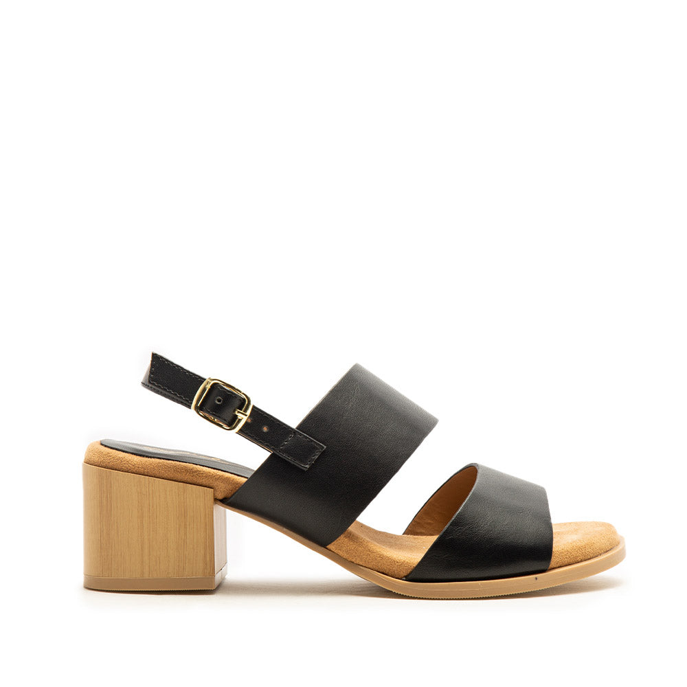 Barden-10AE Black Double Band Slingback Sandals
