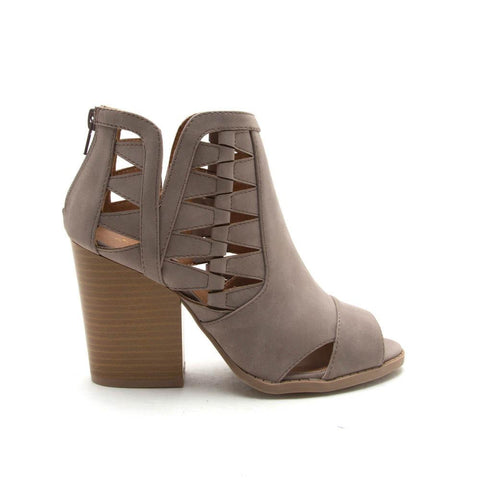 BARNES-131A Taupe Cut Out Peep Toe Bootie