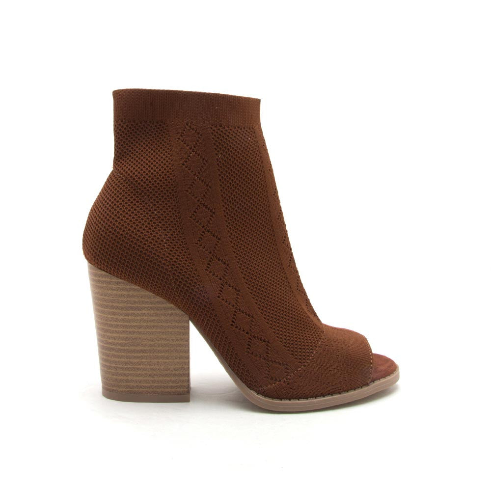 Barnes-186A Rust Stretch Knit Bootie