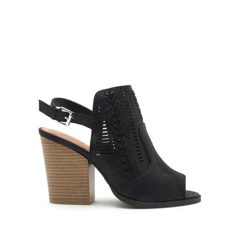 Barnes-197A Black Perforated Slingback Sandal