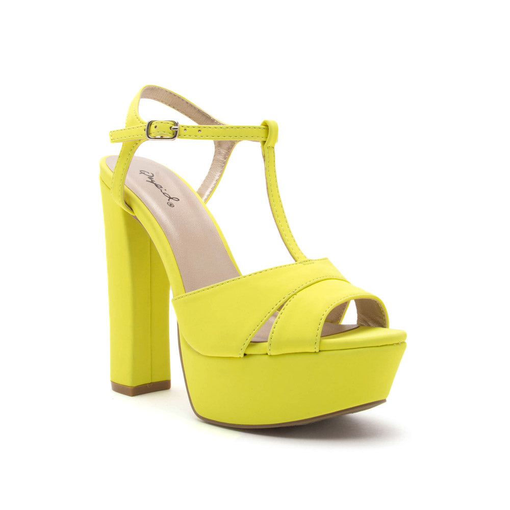 Beat-78 Neon Yellow T Strap Platforms