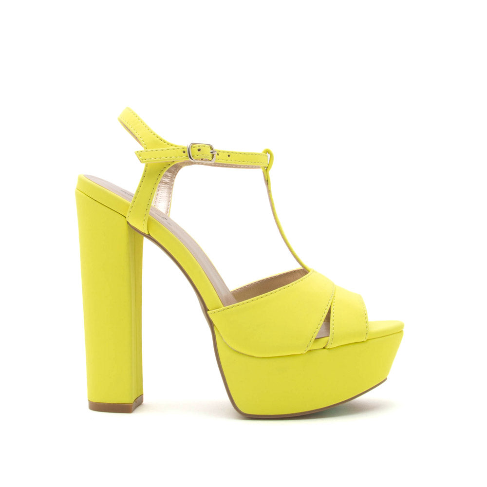 88226c37ad97 Qupid Women Shoes Beat-78 Neon Yellow T Strap Platforms